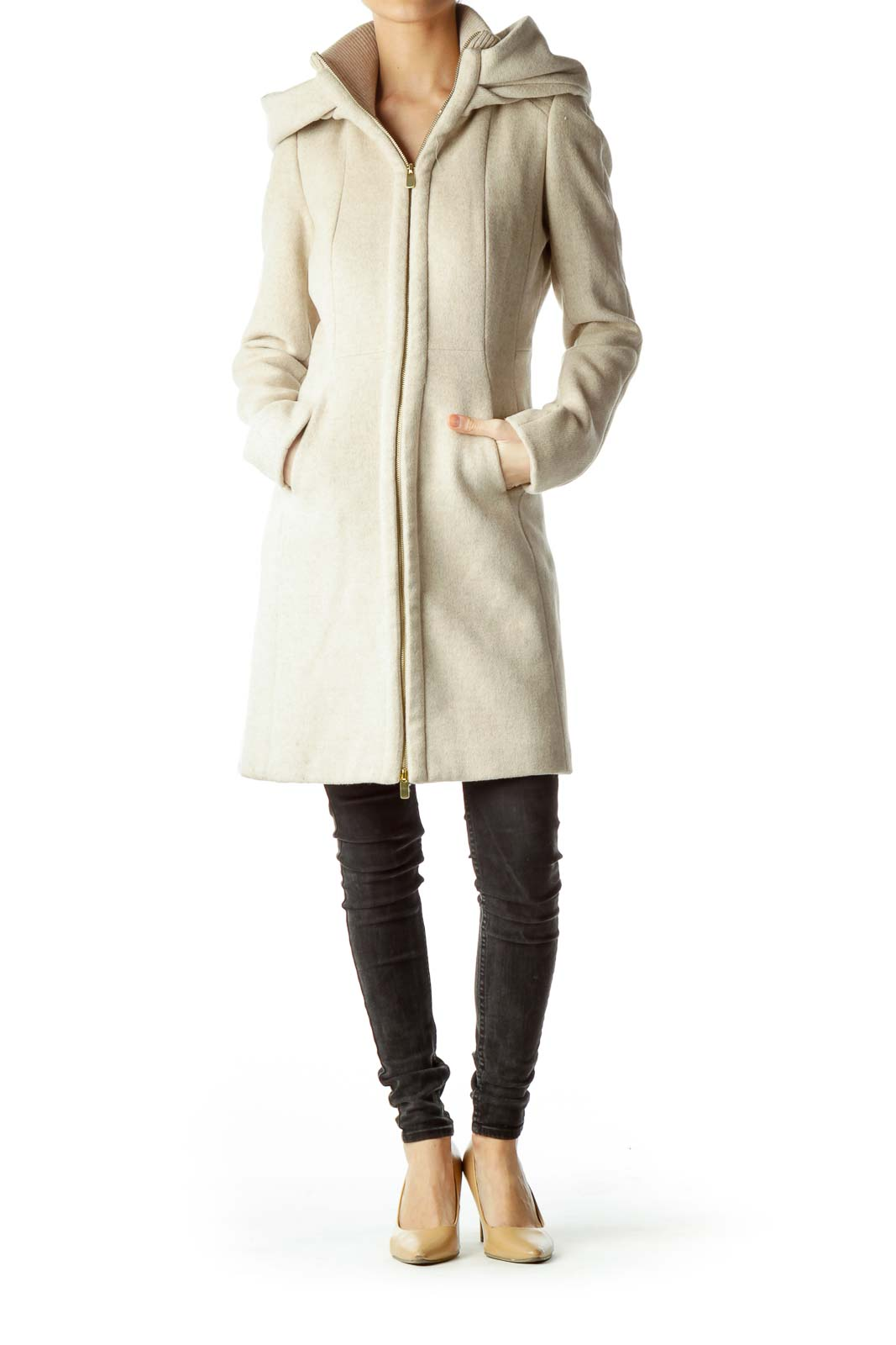 Beige Hooded Coat with Gold Zipper