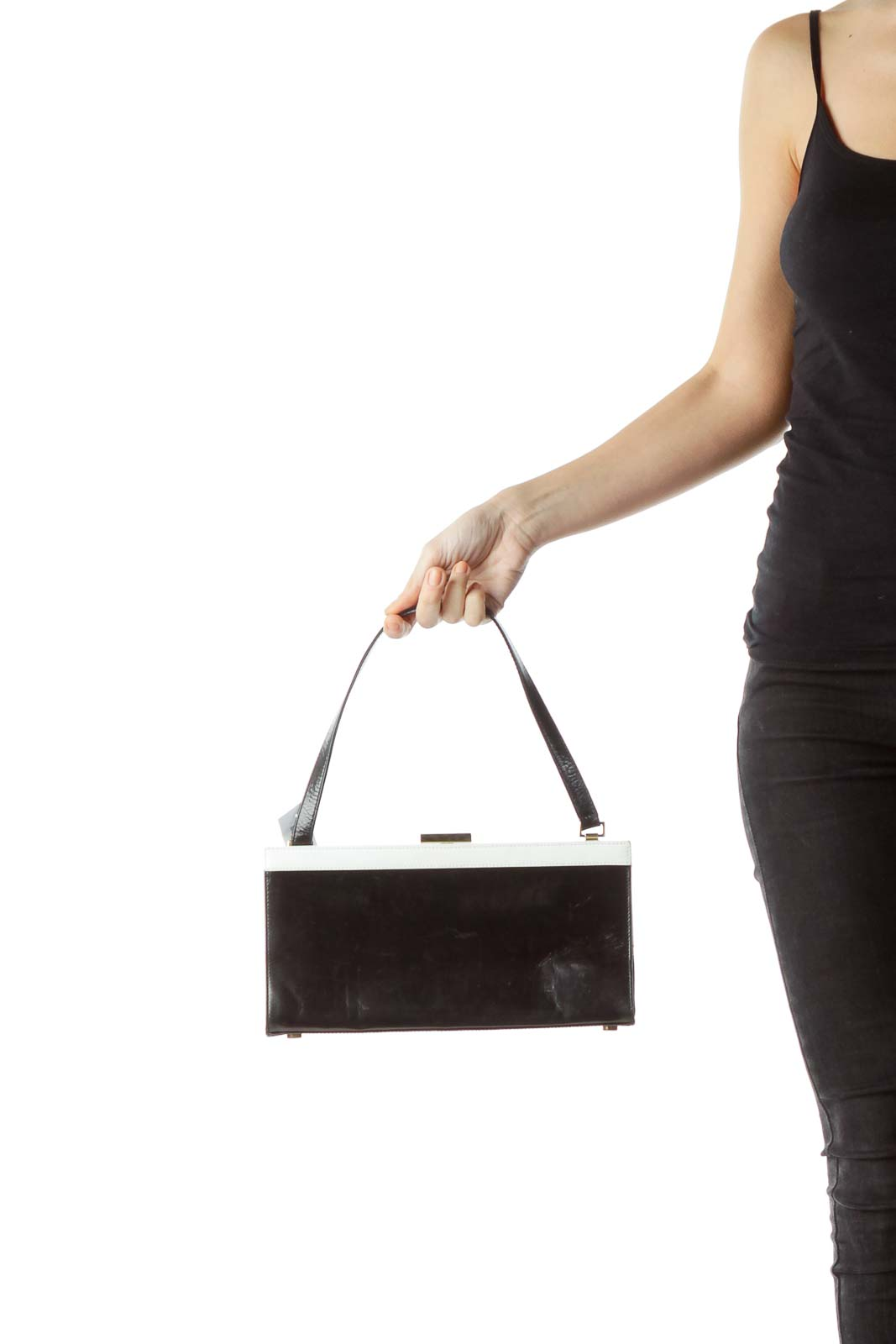 Black White Leather Rectangle Shoulder Bag