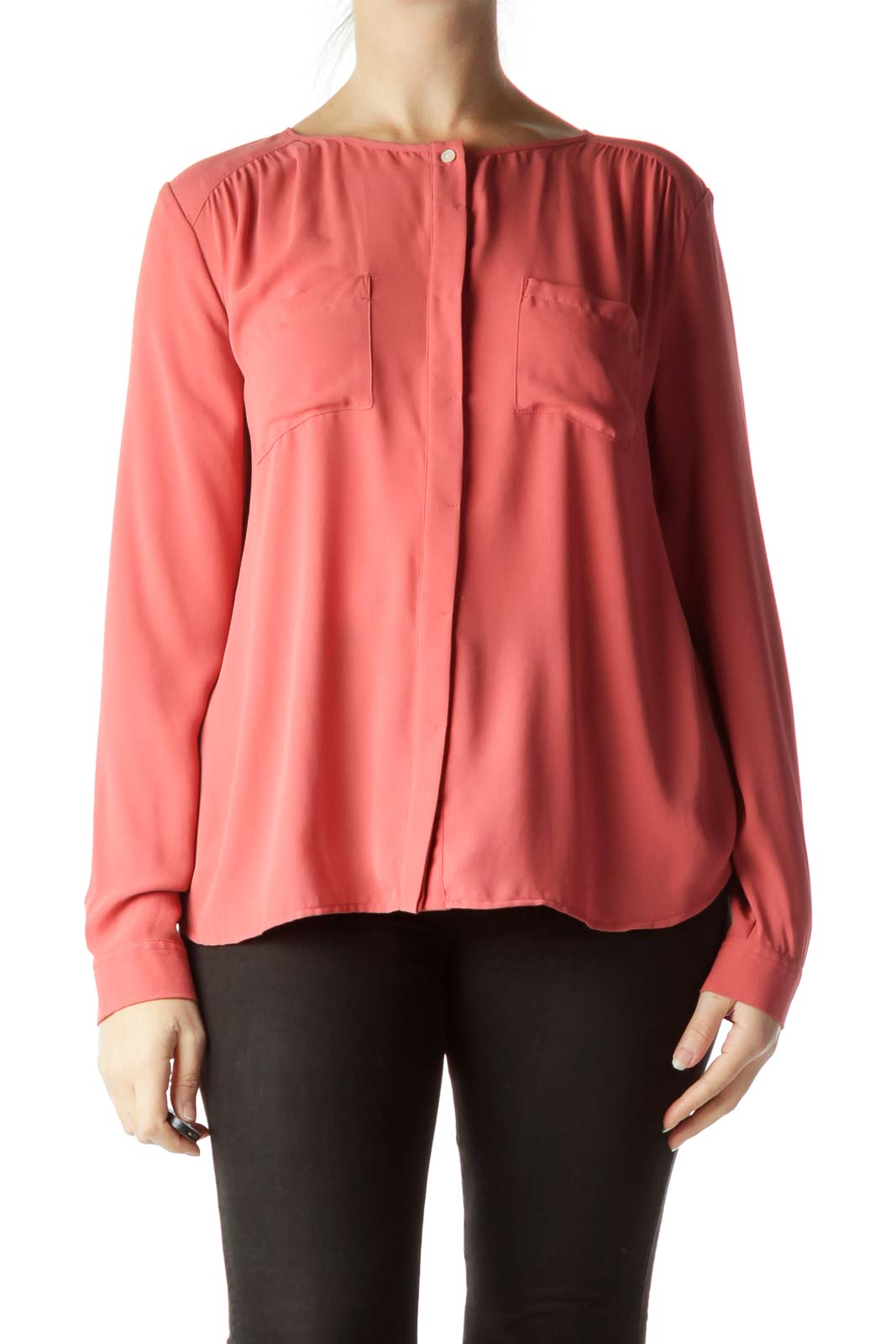 Orange Pocketed Buttoned Blouse