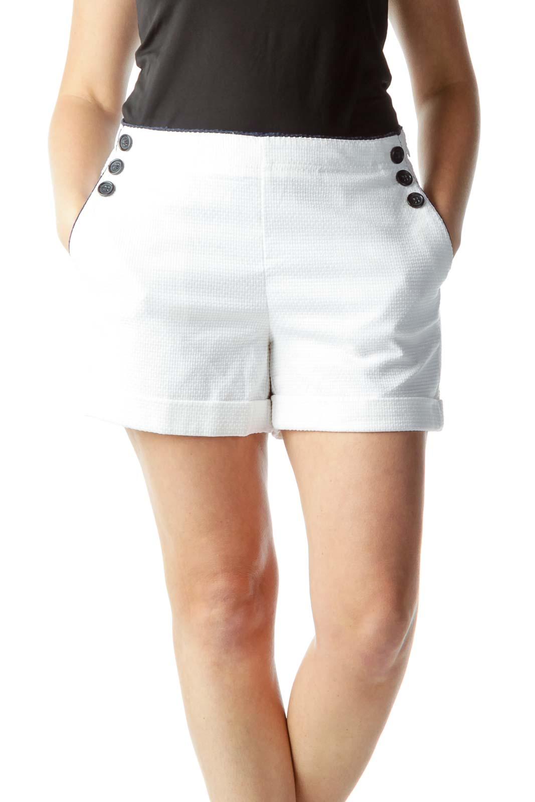 White Pocketed Tweed Shorts