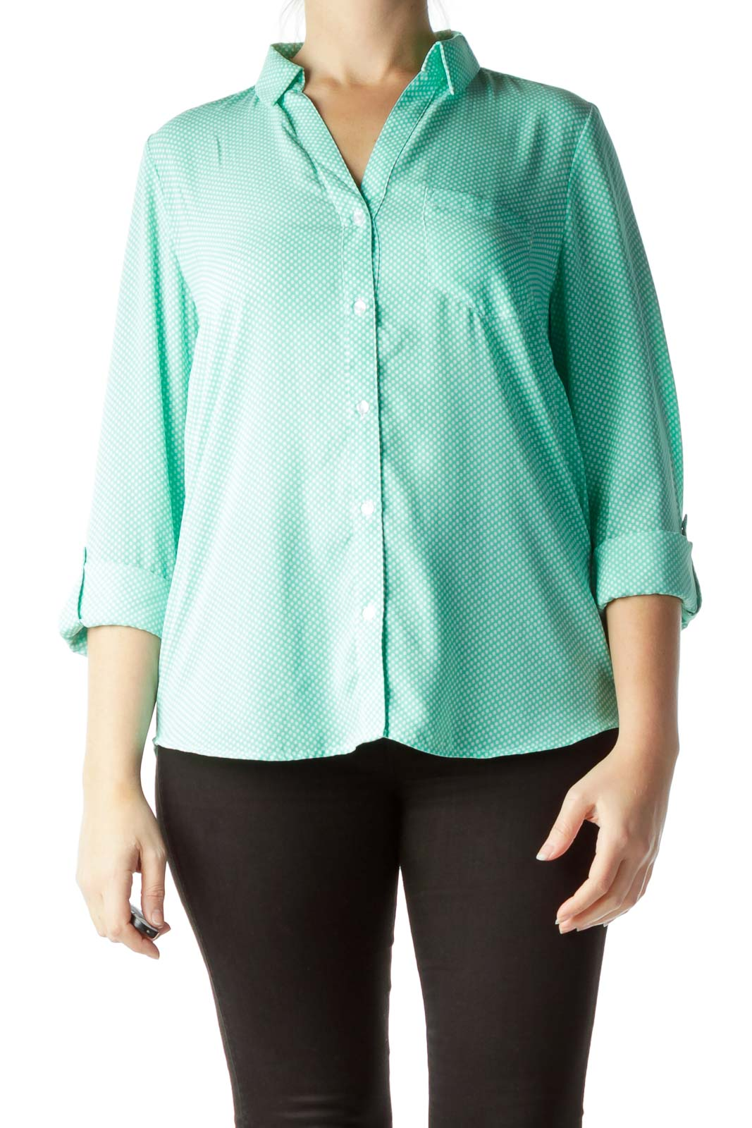 Mint Green White Polka-Dot Blouse
