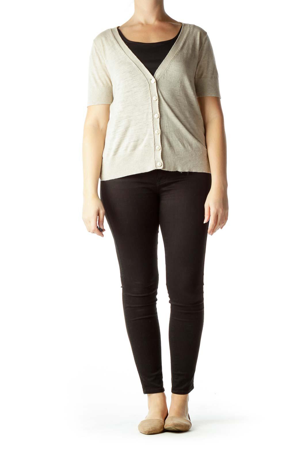 Beige 100% Cotton Short Sleeve Sweater