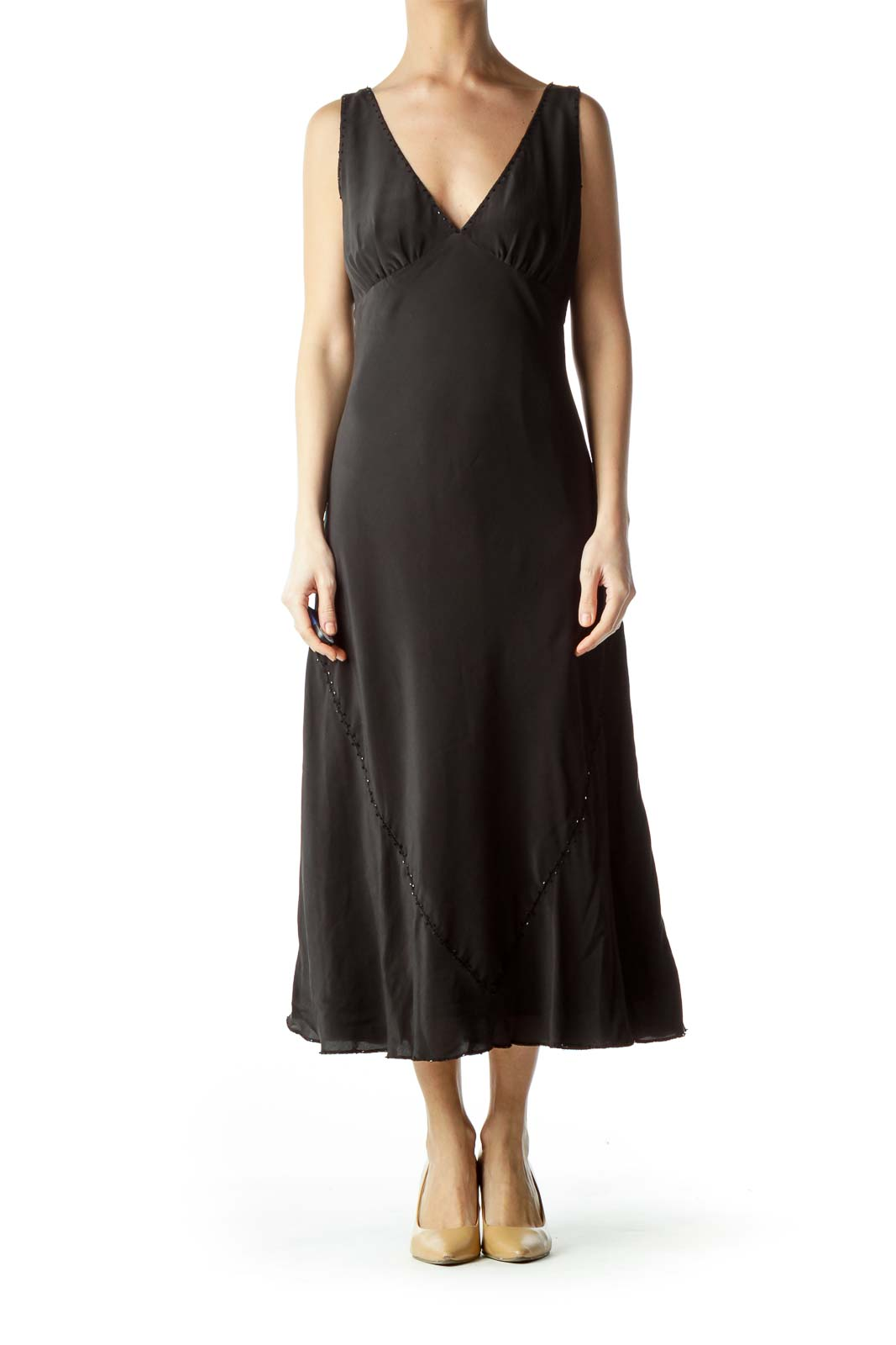 Black Beaded Silk Midi Dress
