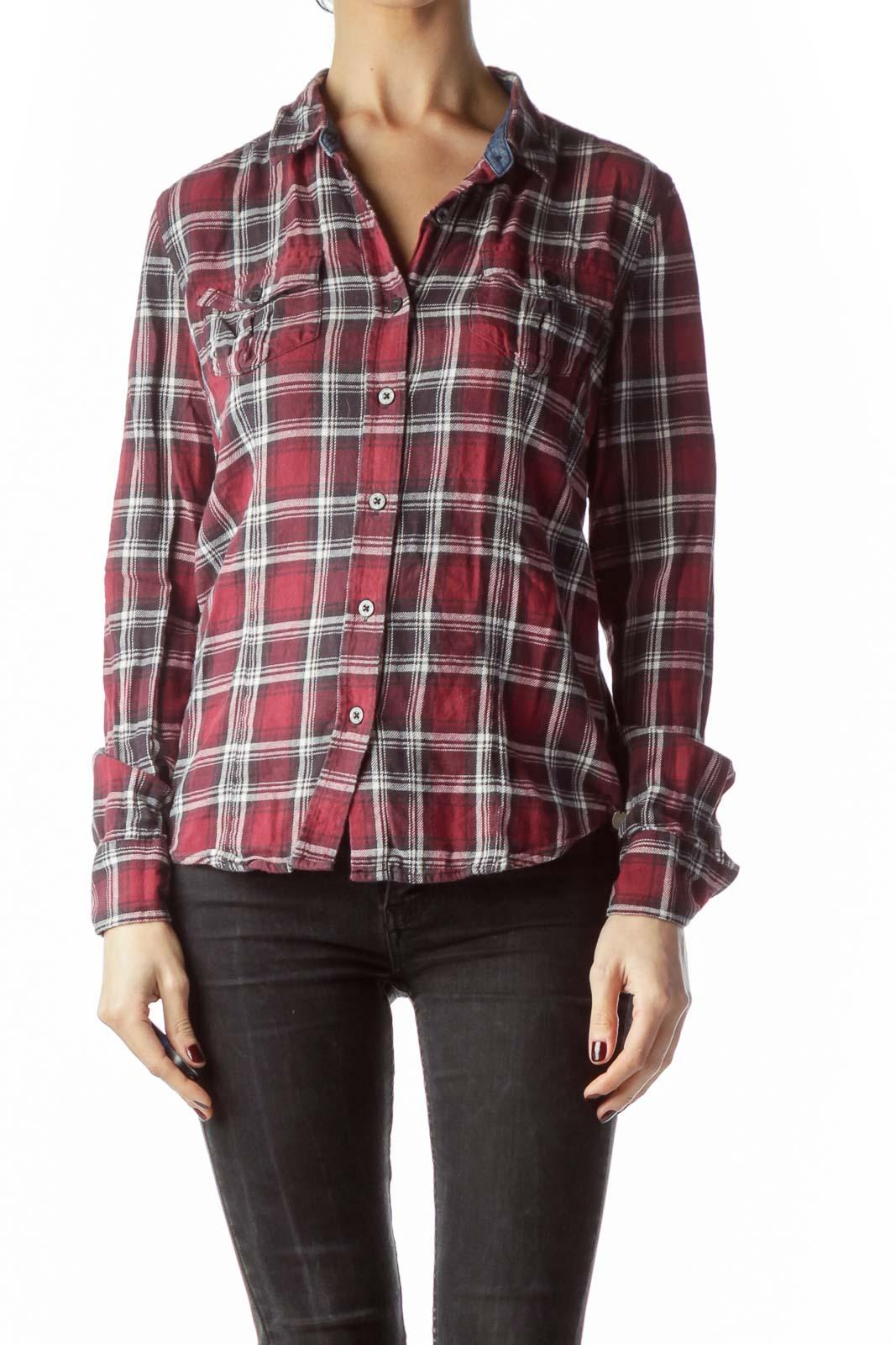 Red Black Cream Plaid Long Sleeve Knit Shirt