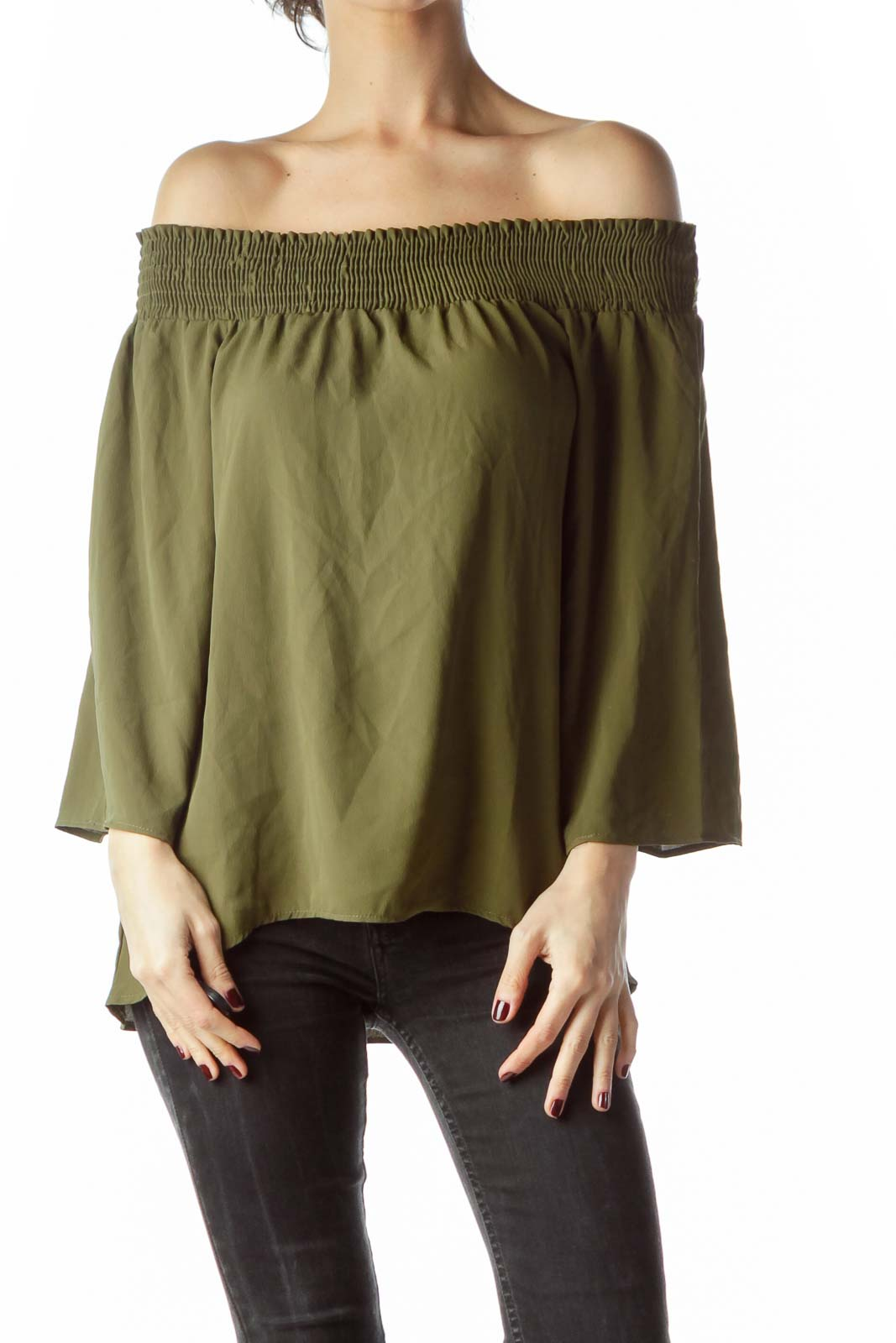 Army Green Cold Shoulder 3/4 Sleeve Blouse