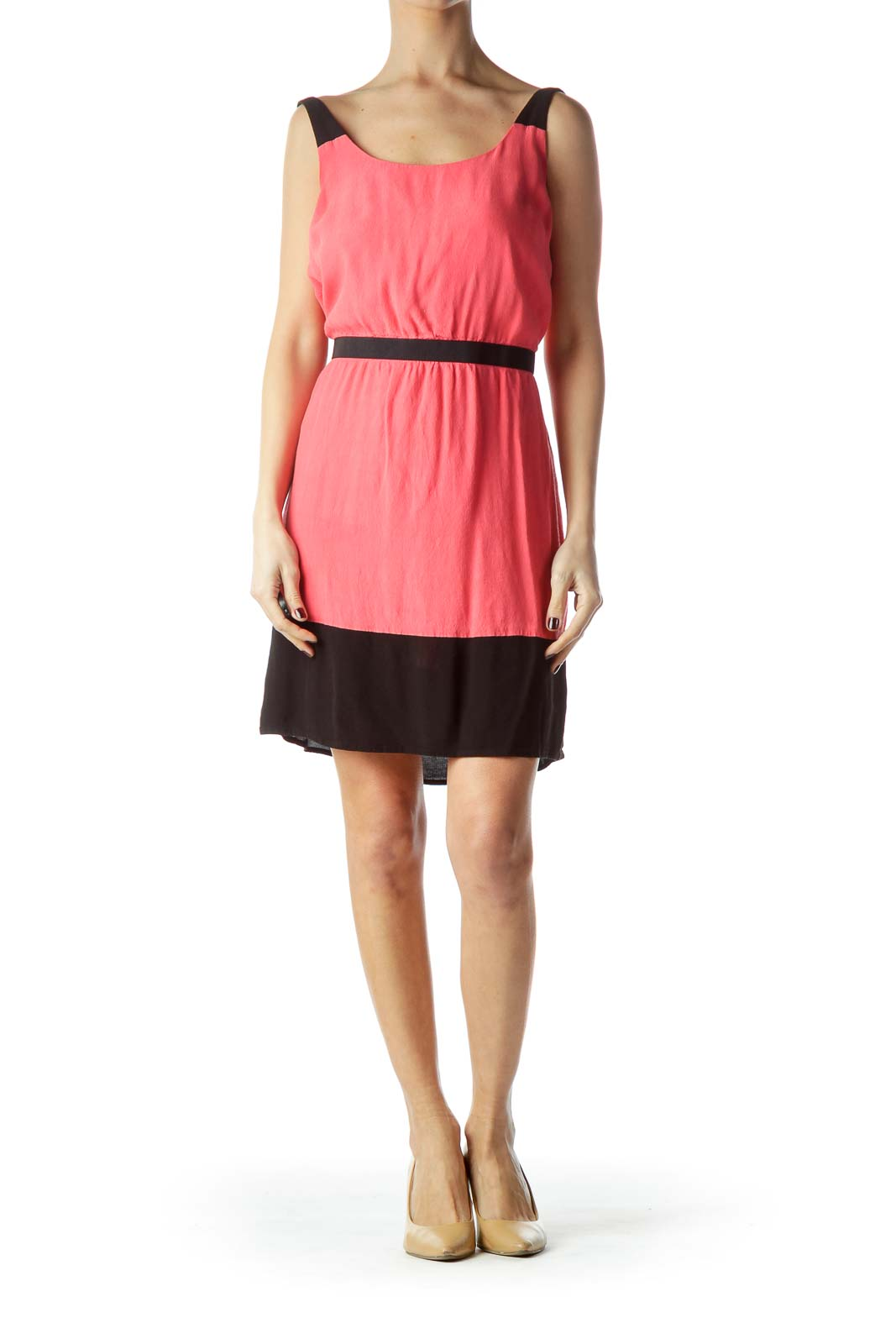 Coral Pink and Black Day Dress