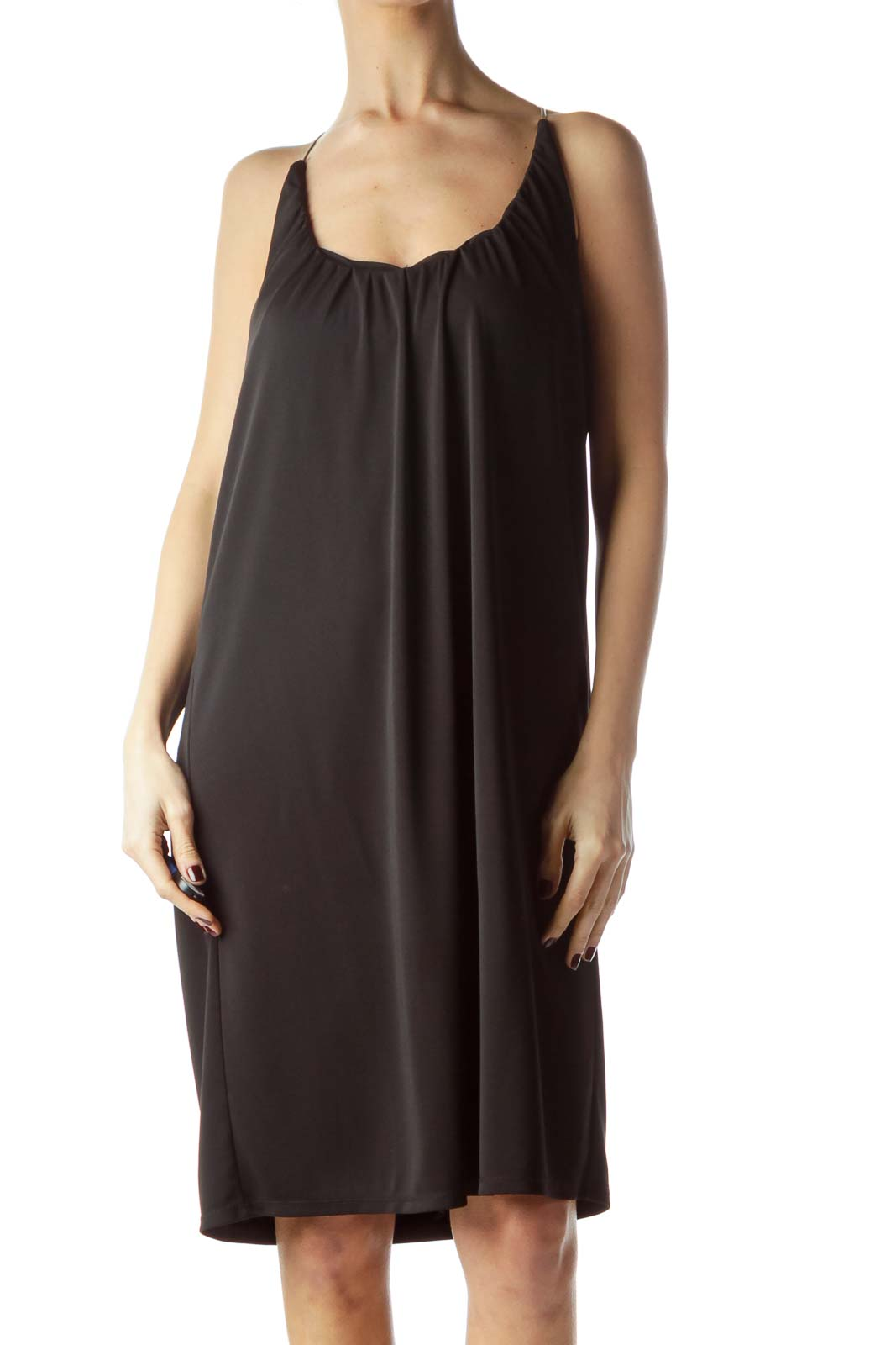 Black Shift Dress with Metallic Straps