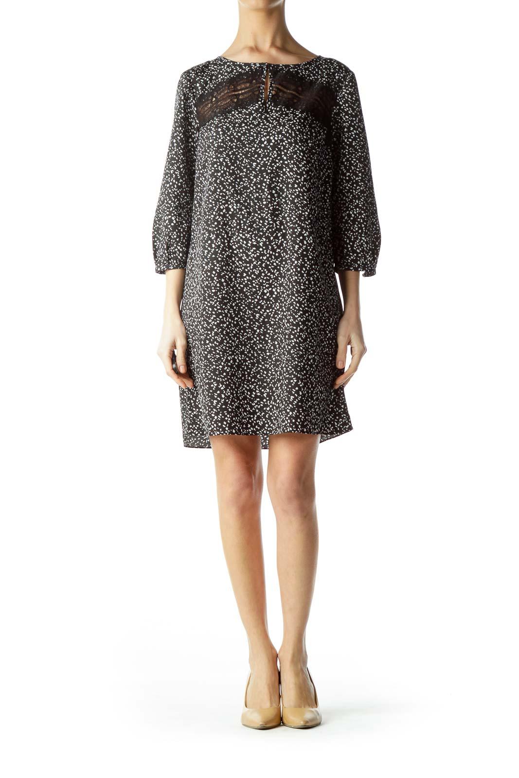 Black White Print Front Cut-Out Dress