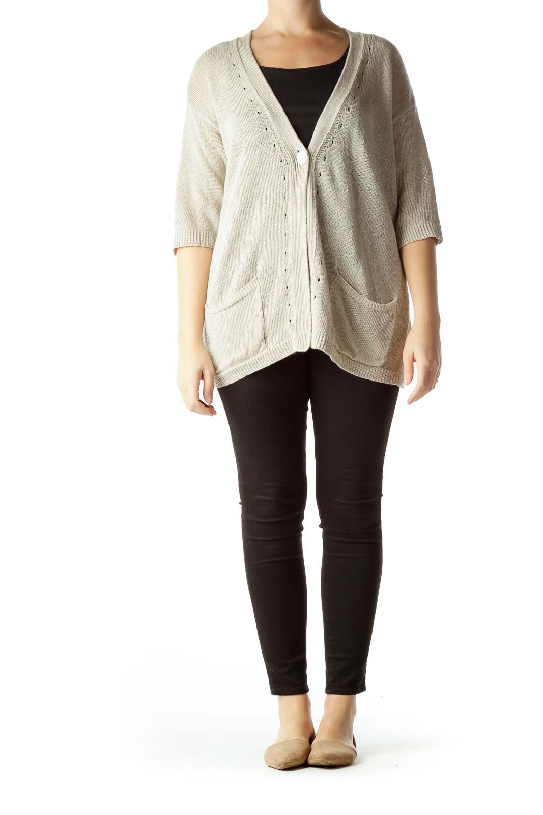 Beige 100% Linen Short Sleeve Cardigan