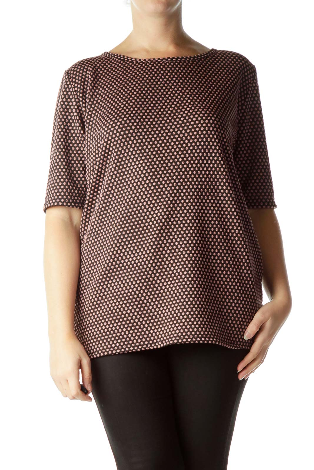 Black Pink Polka-Dot Short Sleeve T-Shirt