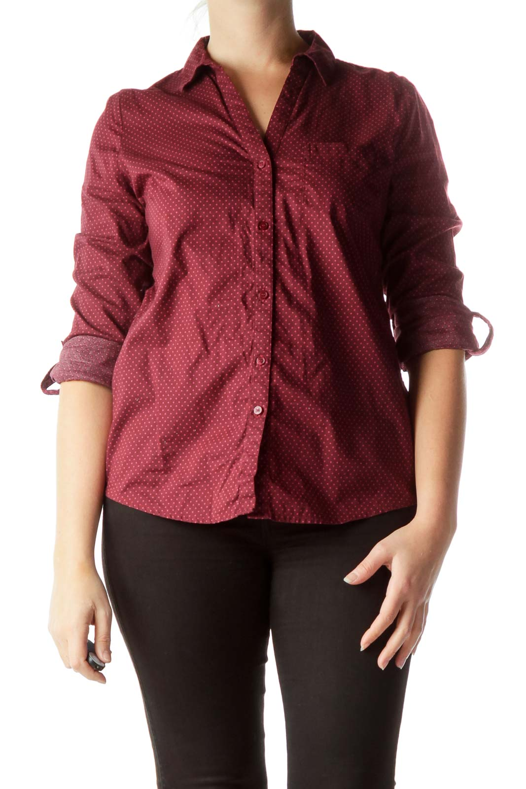 Burgundy Polka-Dot 100% Cotton Shirt