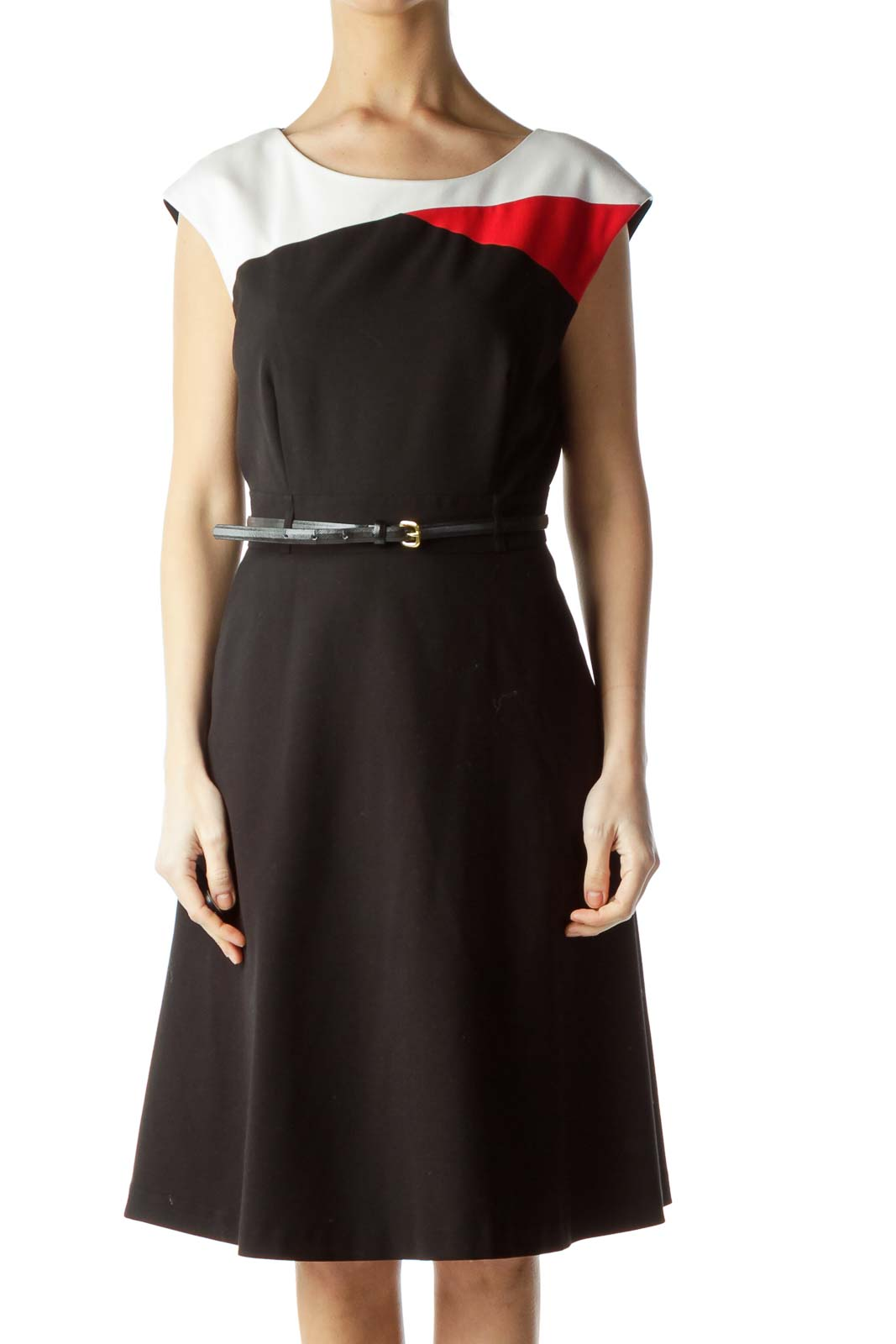 Black Red Color Block Belted Work Dress