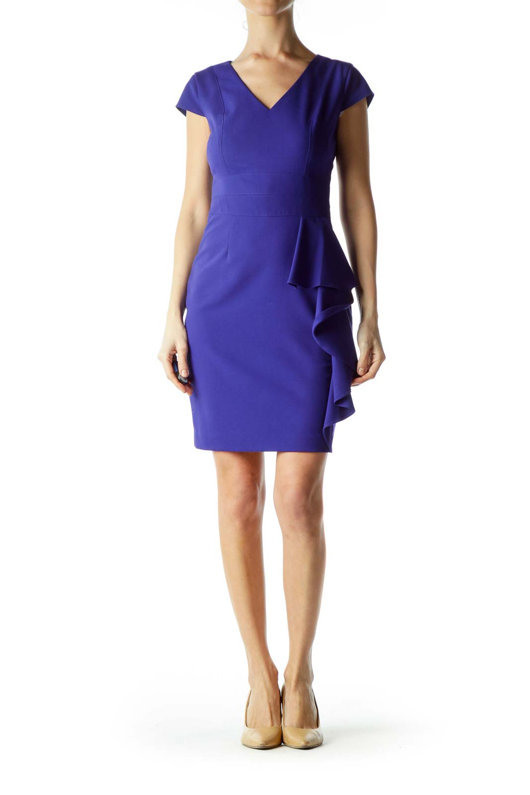 Blue Ruffle Sheath Dress