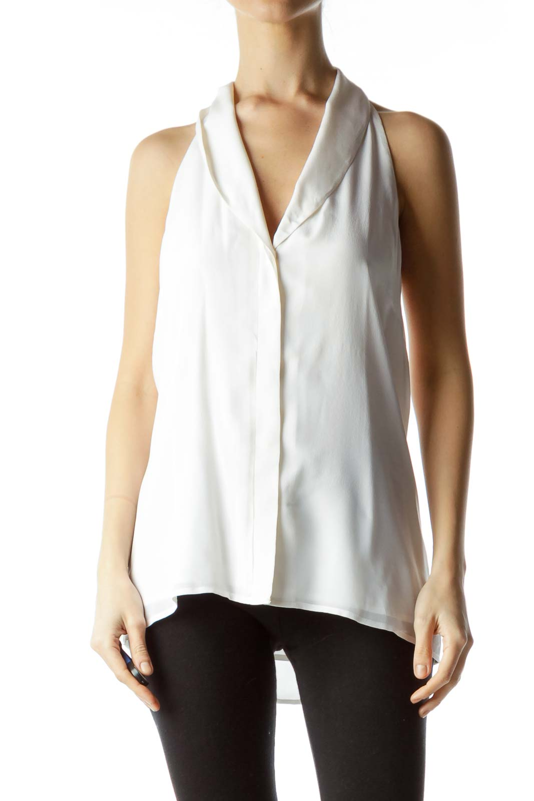 White Silk Halter Button Down Blouse