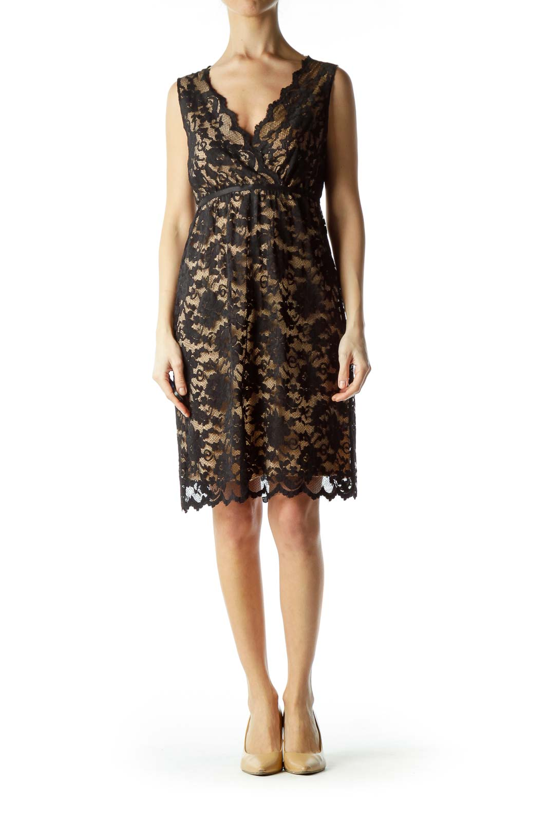 Black Lace Scalloped Empire Waist Dress