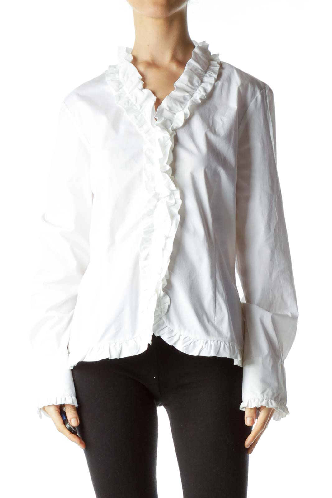 White Ruffled Long Sleeve Blouse