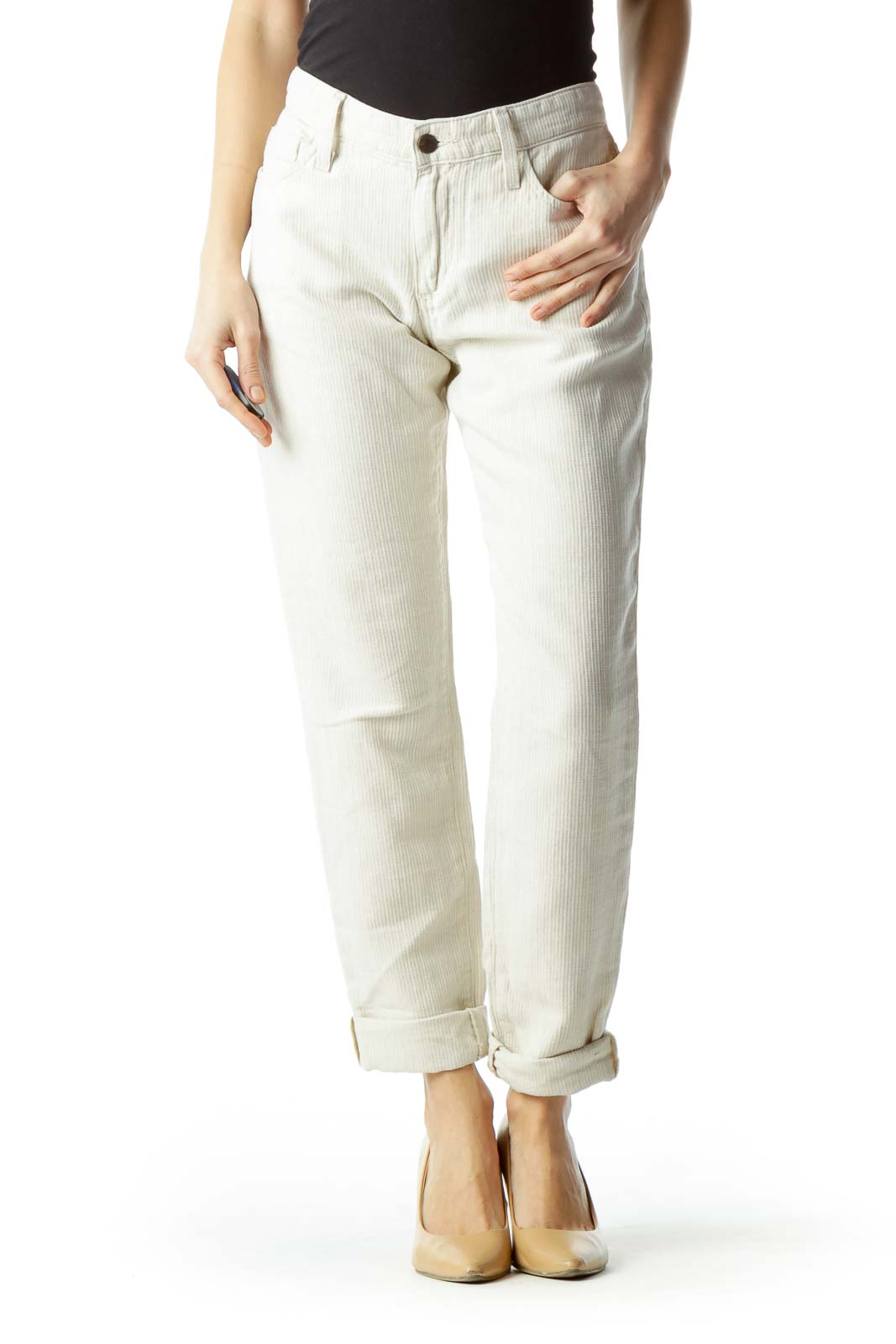 Beige Textured Cotton and Linen Pants