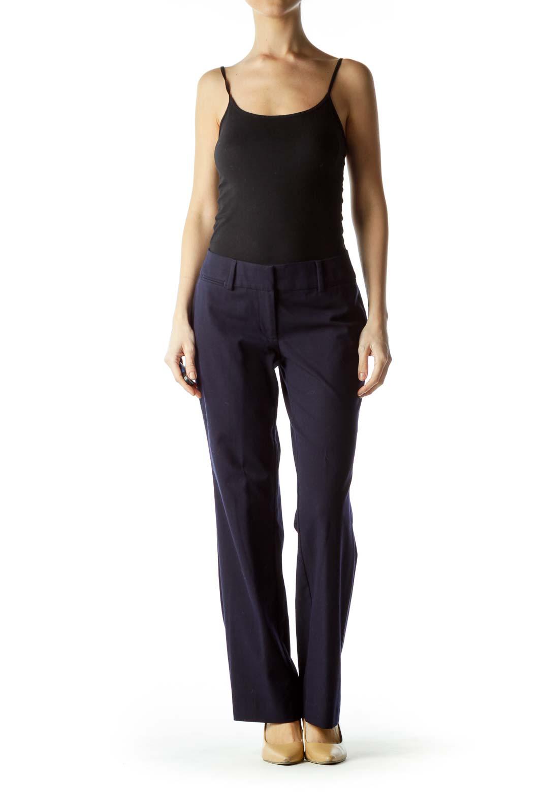 Navy Blue Straight Leg Slacks