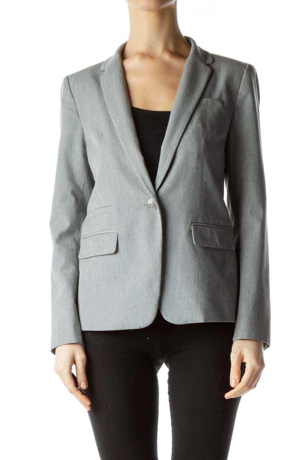 Gray V-Neck Collared Blazer