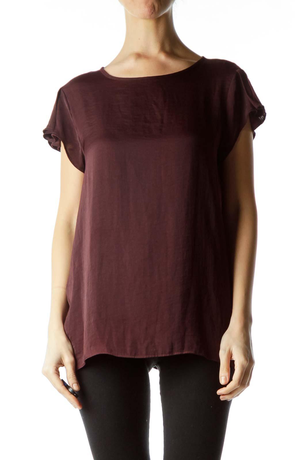 Burgundy Round Neck Short Sleeve Blouse