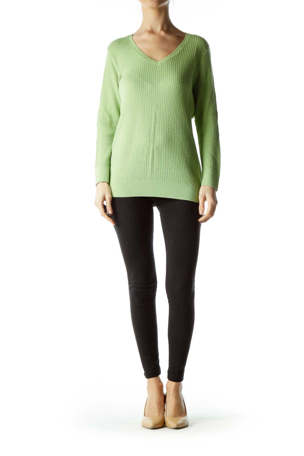 Green Textured Knit Top