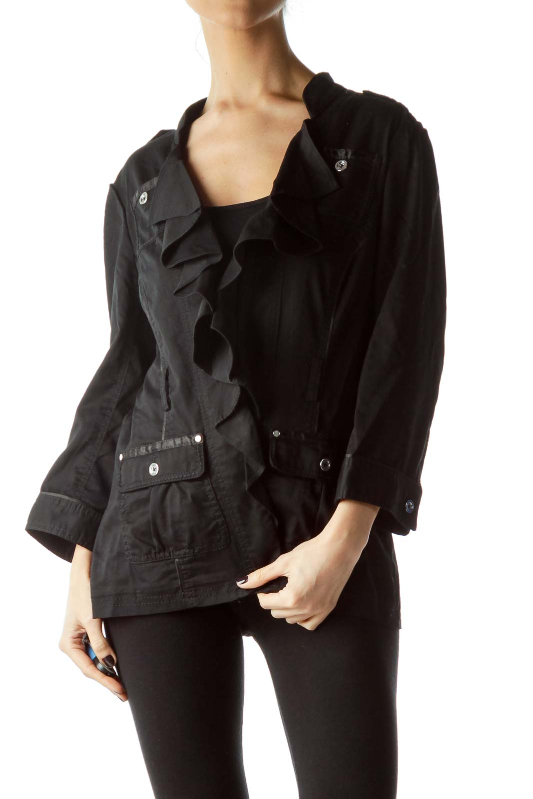 Black Metal Buttons Ruffled Pocketed Top