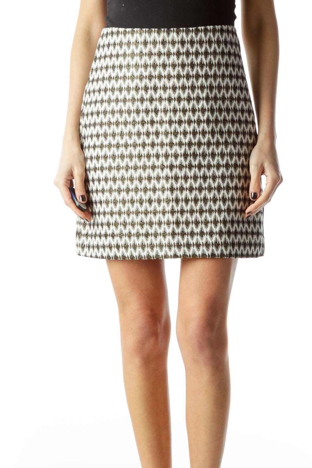 Cream with Gold Black Print A-Line Skirt