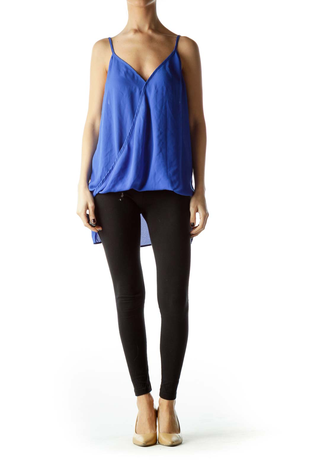 Electric Blue Spaghetti Straps Flared Top