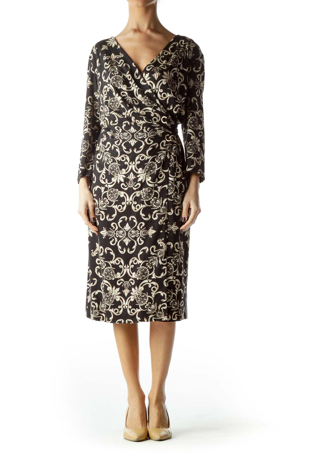 Black Cream and Gold Print Wrap Dress