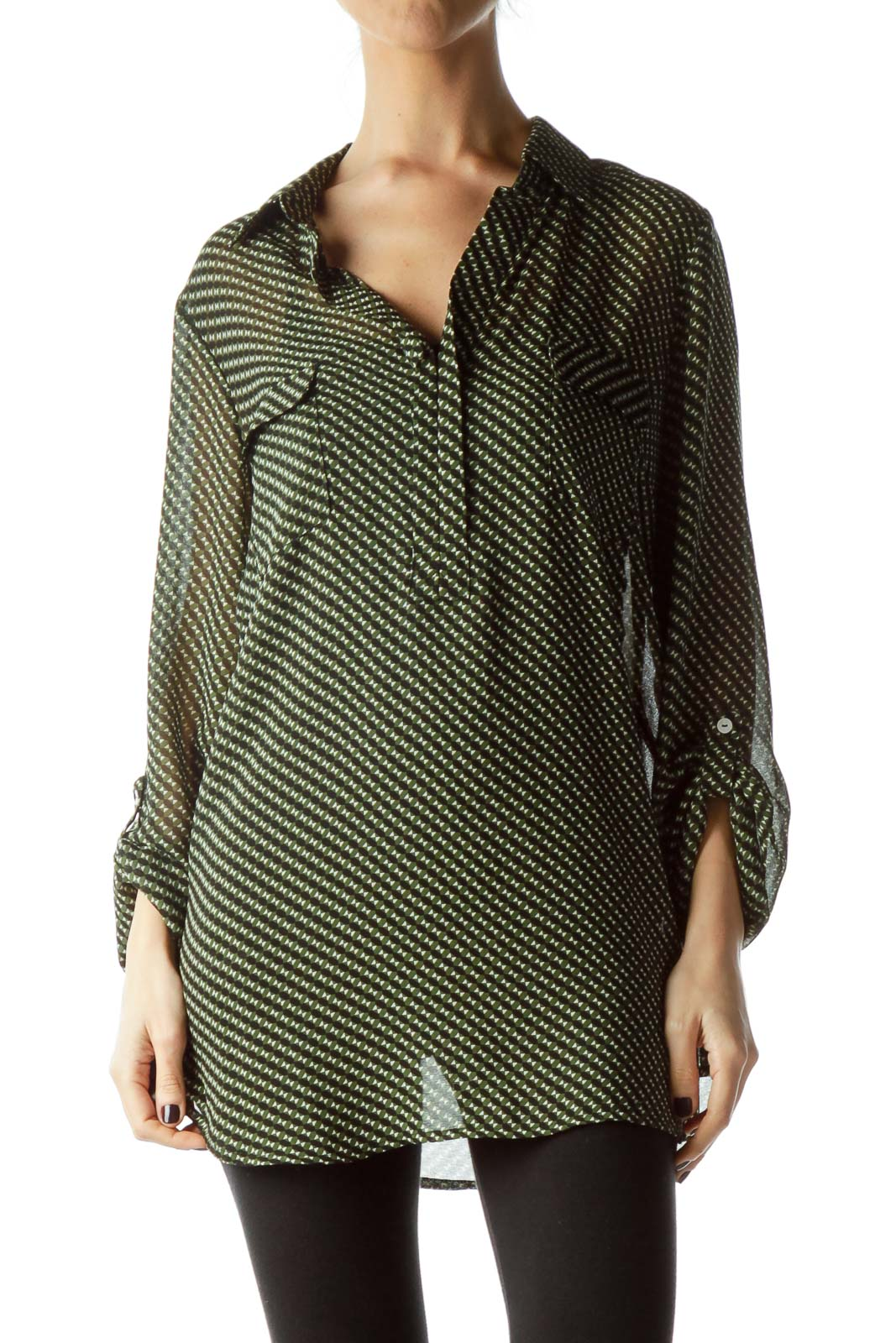 Green Black Geometric Print Long Blouse