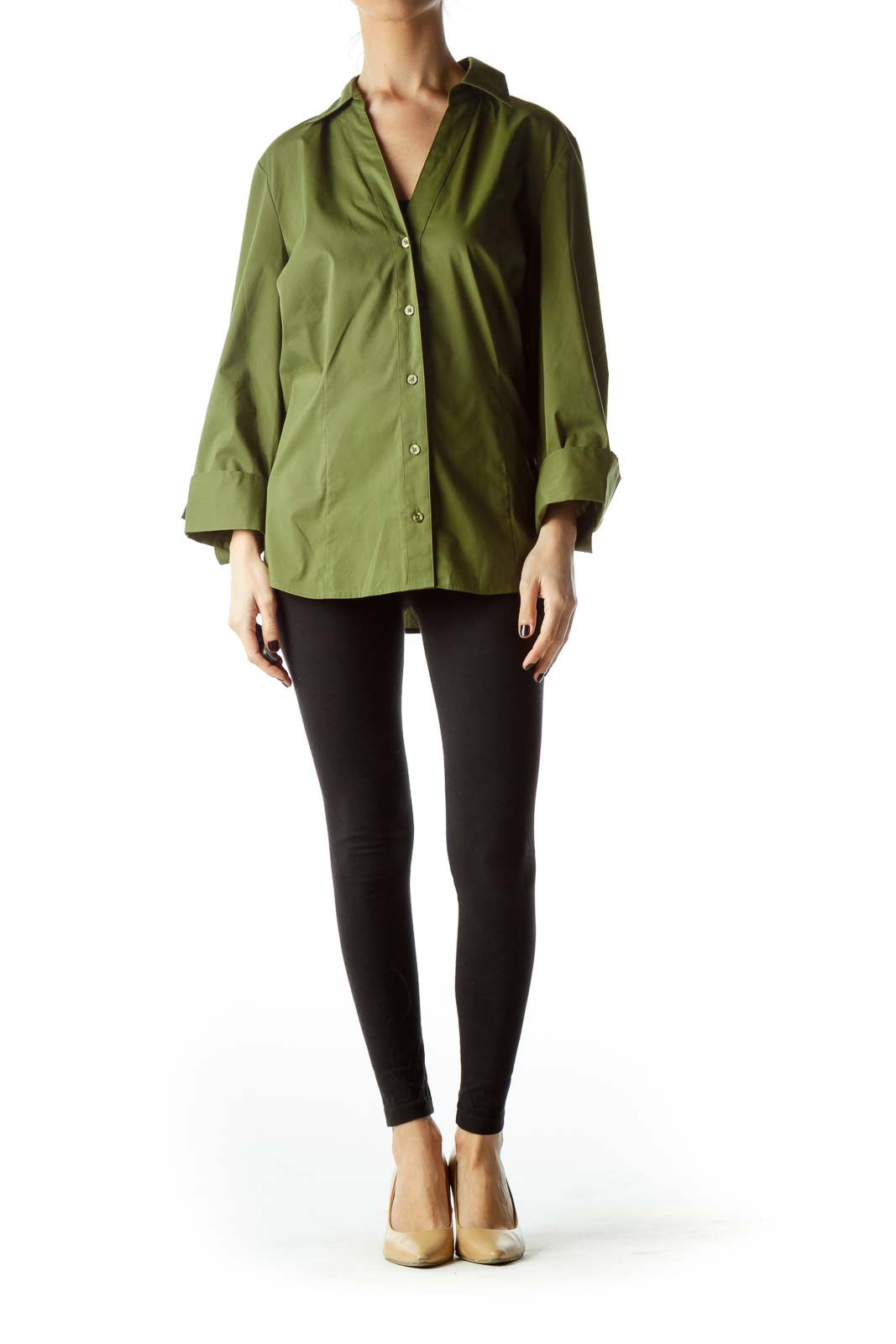 Army Green Long Sleeve Collared Shirt