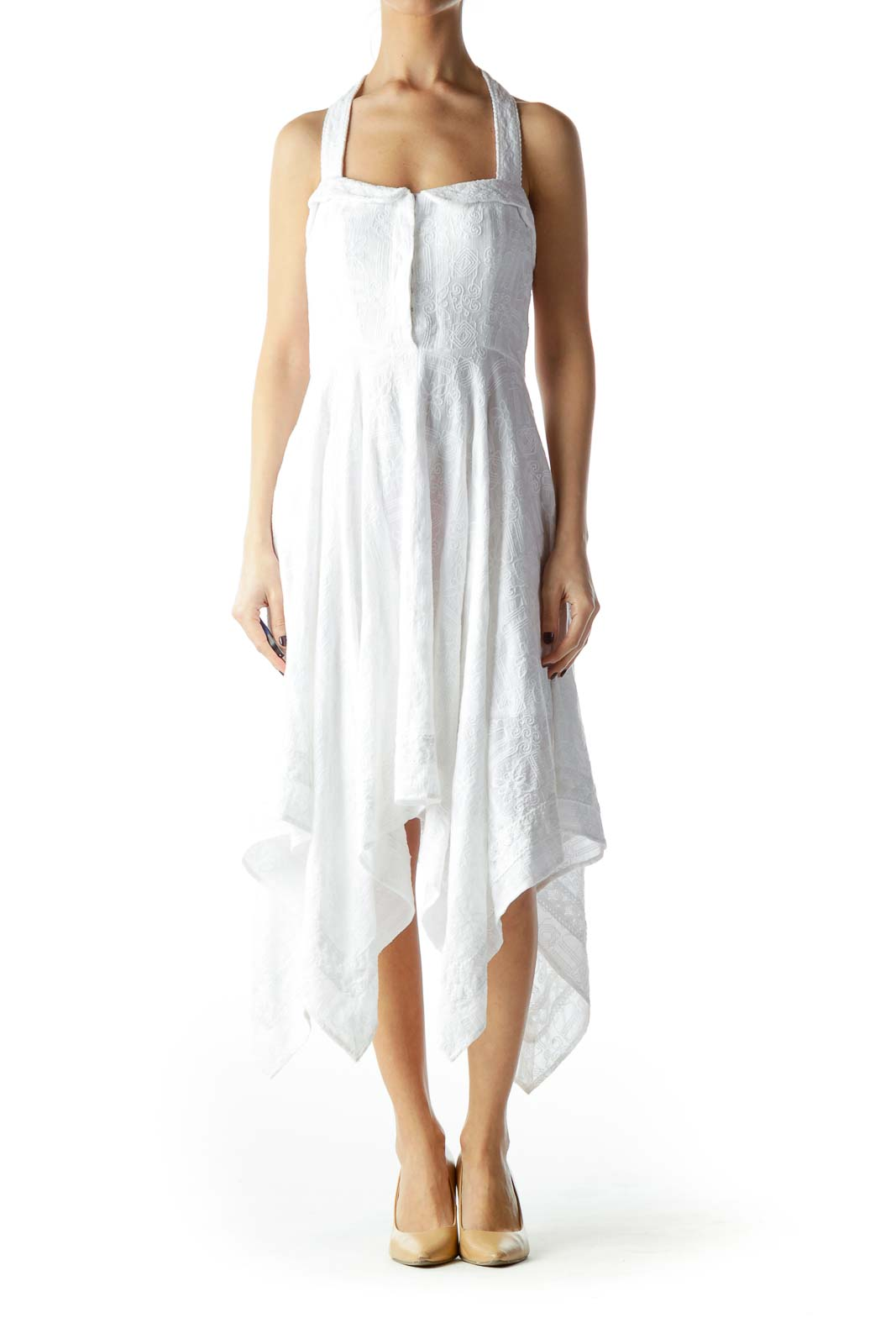 White 100% Cotton Flared Waterfall Day Dress