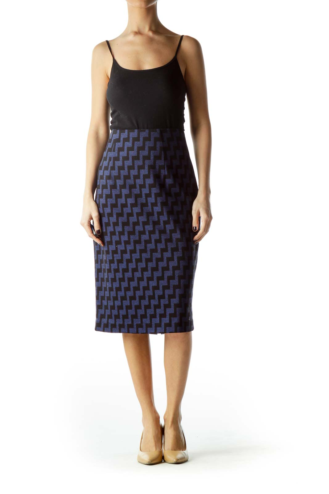 Black Blue Geometric Print Midi Pencil Knit Skirt