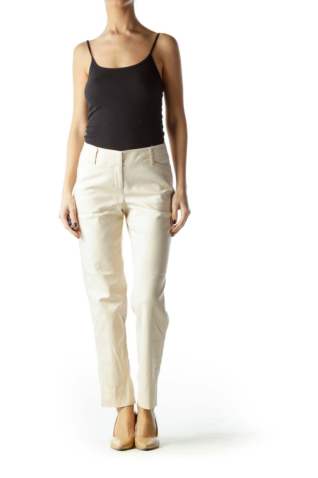 Beige Stretch Metallic Accents Pant