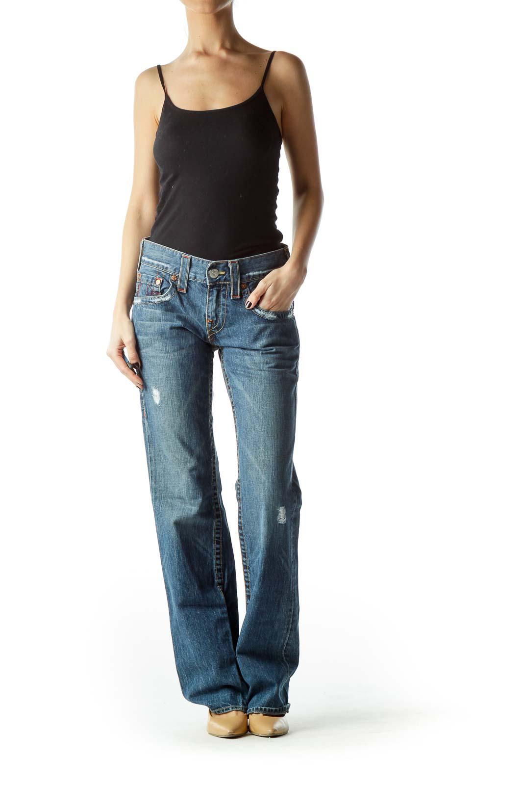 Blue 100% Cotton Straight-Leg Denim Jeans