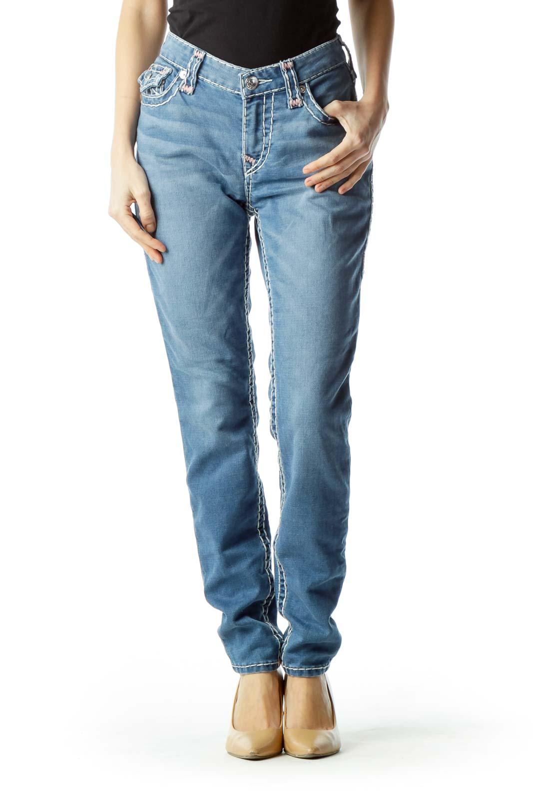 Blue Large Stitch Detail Skinny Jeans