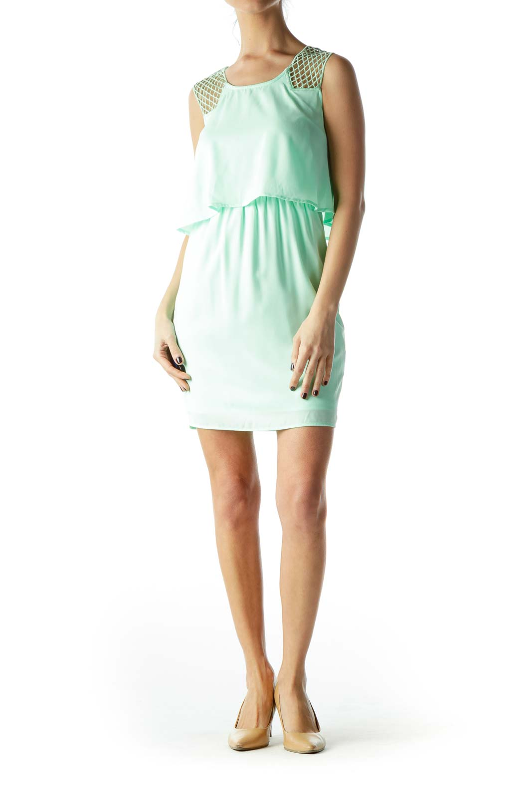 Mint Green Knitted Straps Day Dress