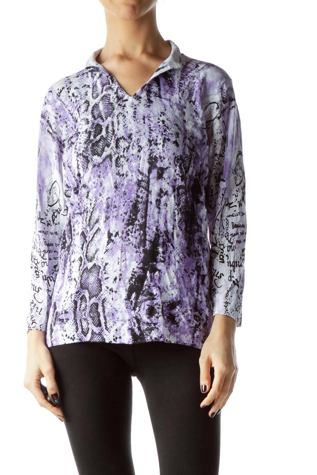 Purple Black Snakeskin Print Embellished Top