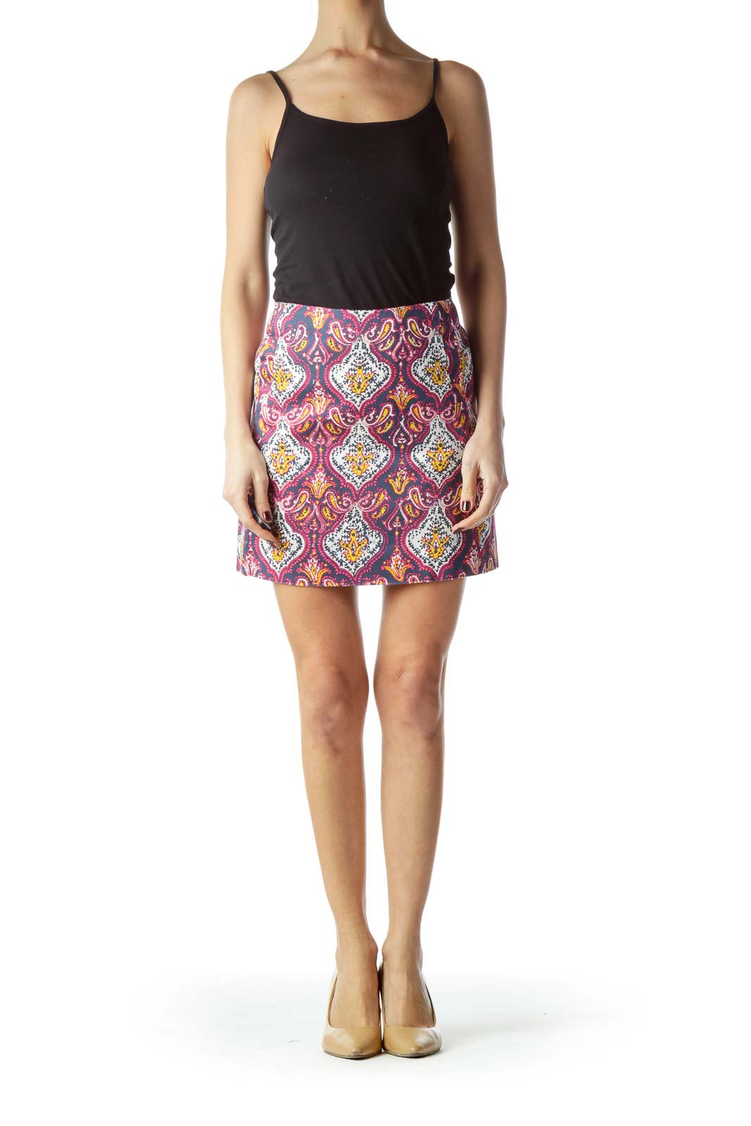 Multicolored Printed Pocketed Mini Skirt