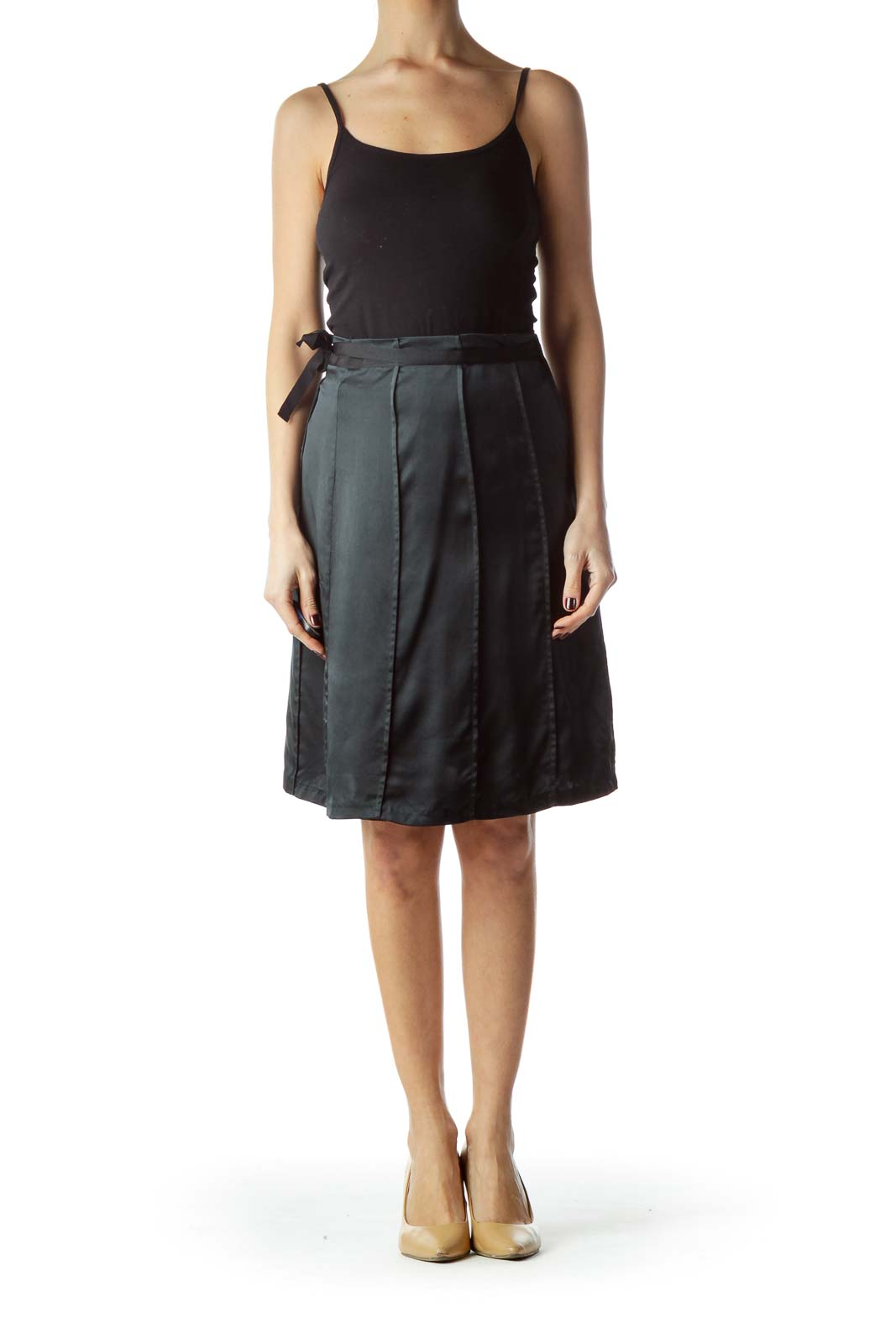 Black Flared Silk Skirt with Belt and Slip