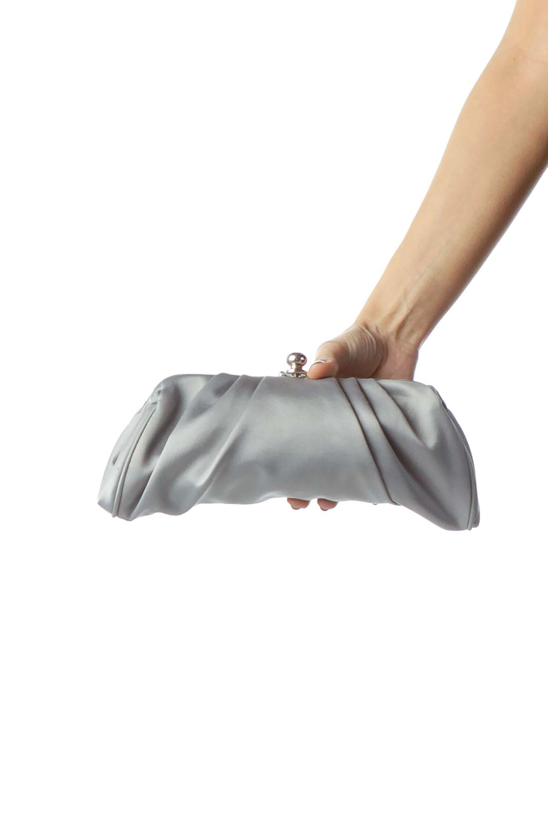Gray Clutch with Metallic Closure and Strap