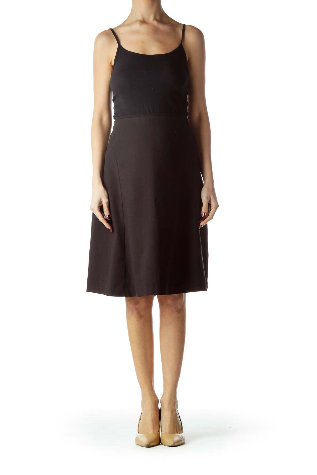Black Zippered Flared Skirt with Slip