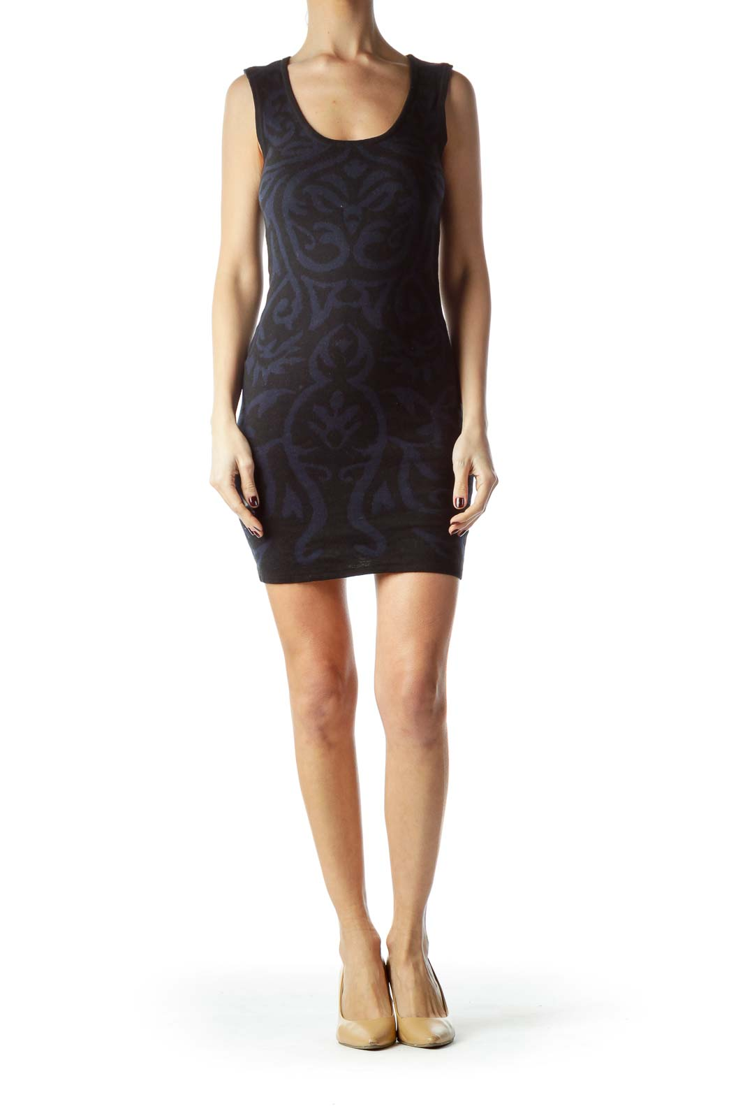 Black Navy Blue Print Knit Dress