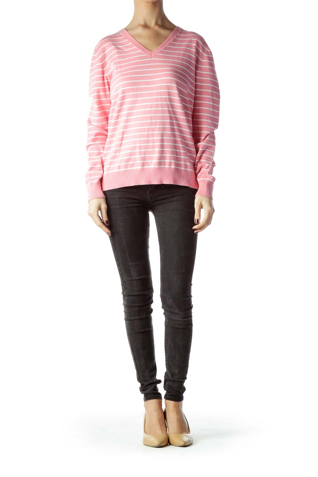 Pink White Striped V-Neck Sweater