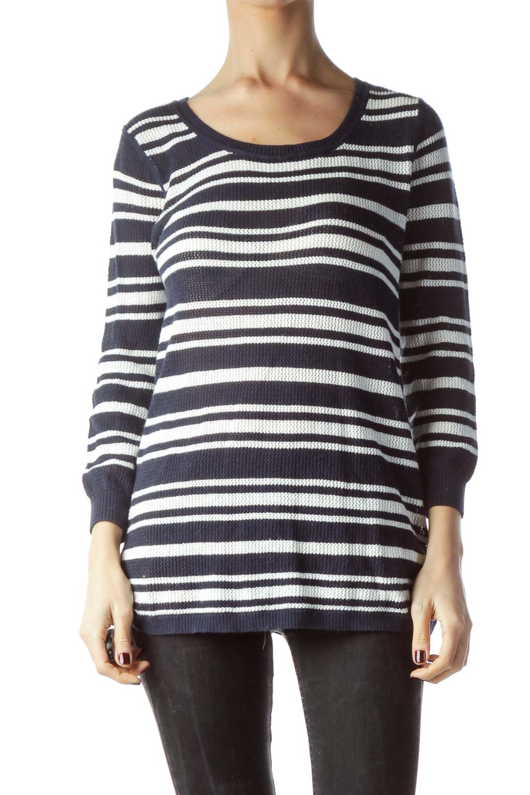 Navy Blue White Striped Stretch Sweater