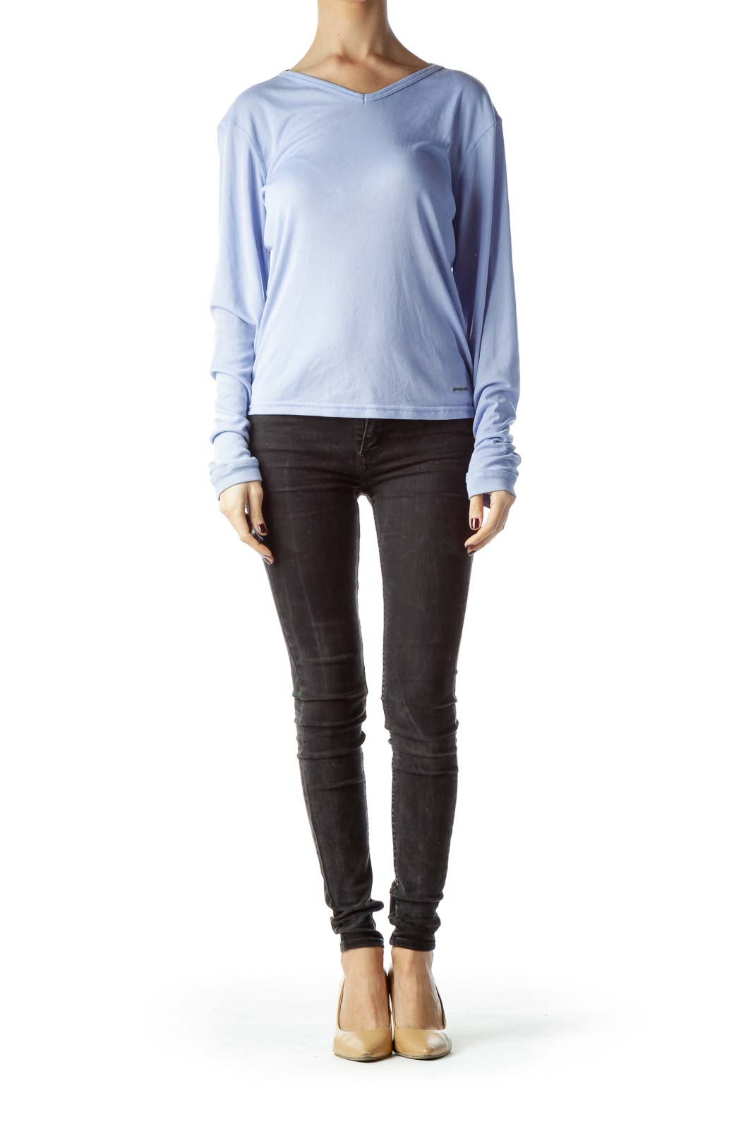 Baby Blue Stretch Long Sleeve Knit Top