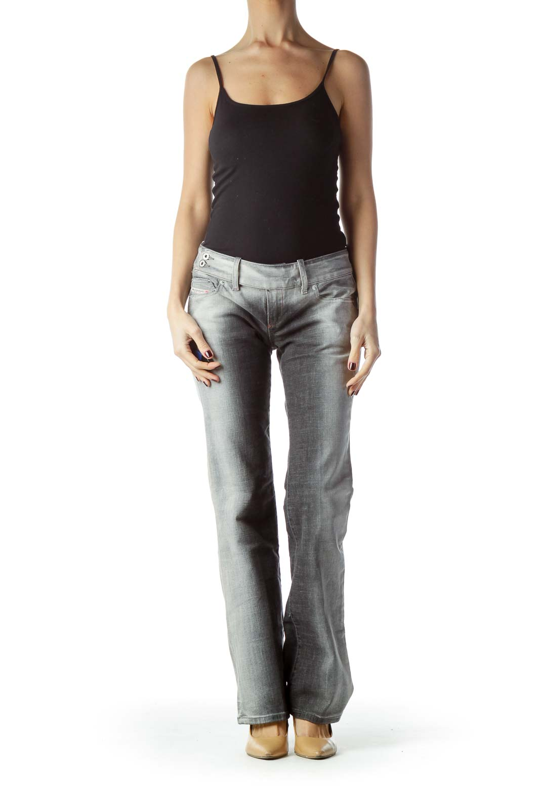 Two-Tone Gray Denim Jeans