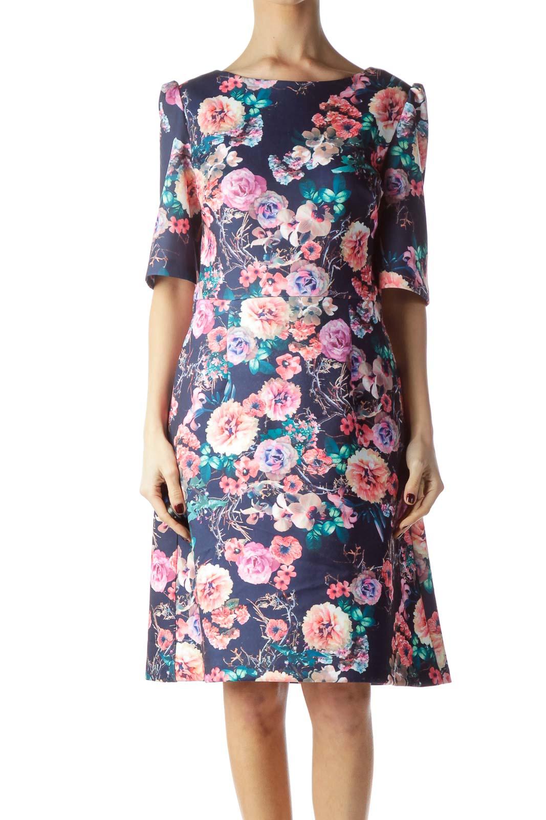 Navy Blue Multicolored Flower Print Dress