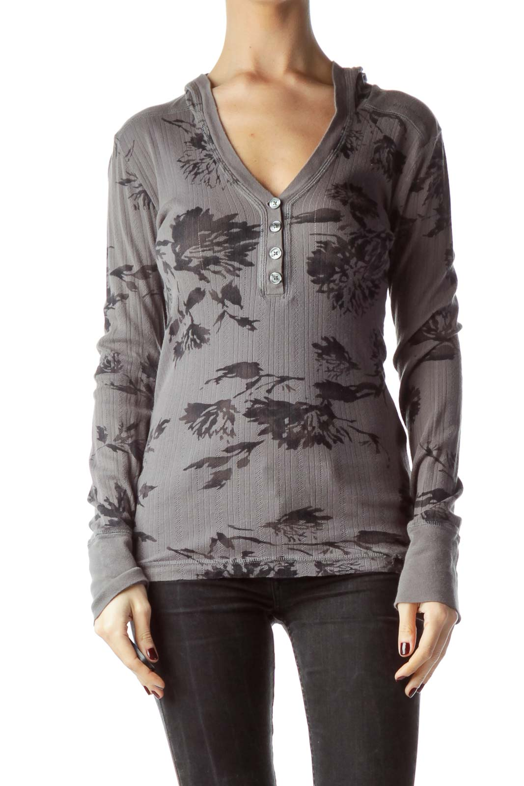 Gray Floral Print 100% Cotton Hooded Knit Top