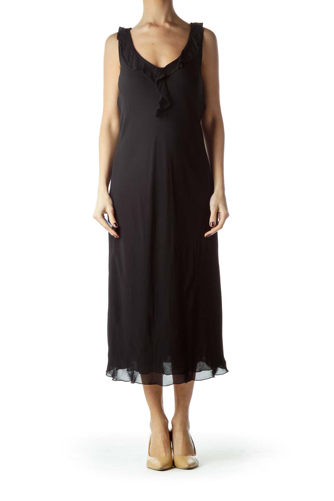 Black V-Neck Flared Neckline Shift Dress